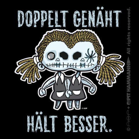 "Illustration + Lettering ""Doppelt genäht hält besser"""