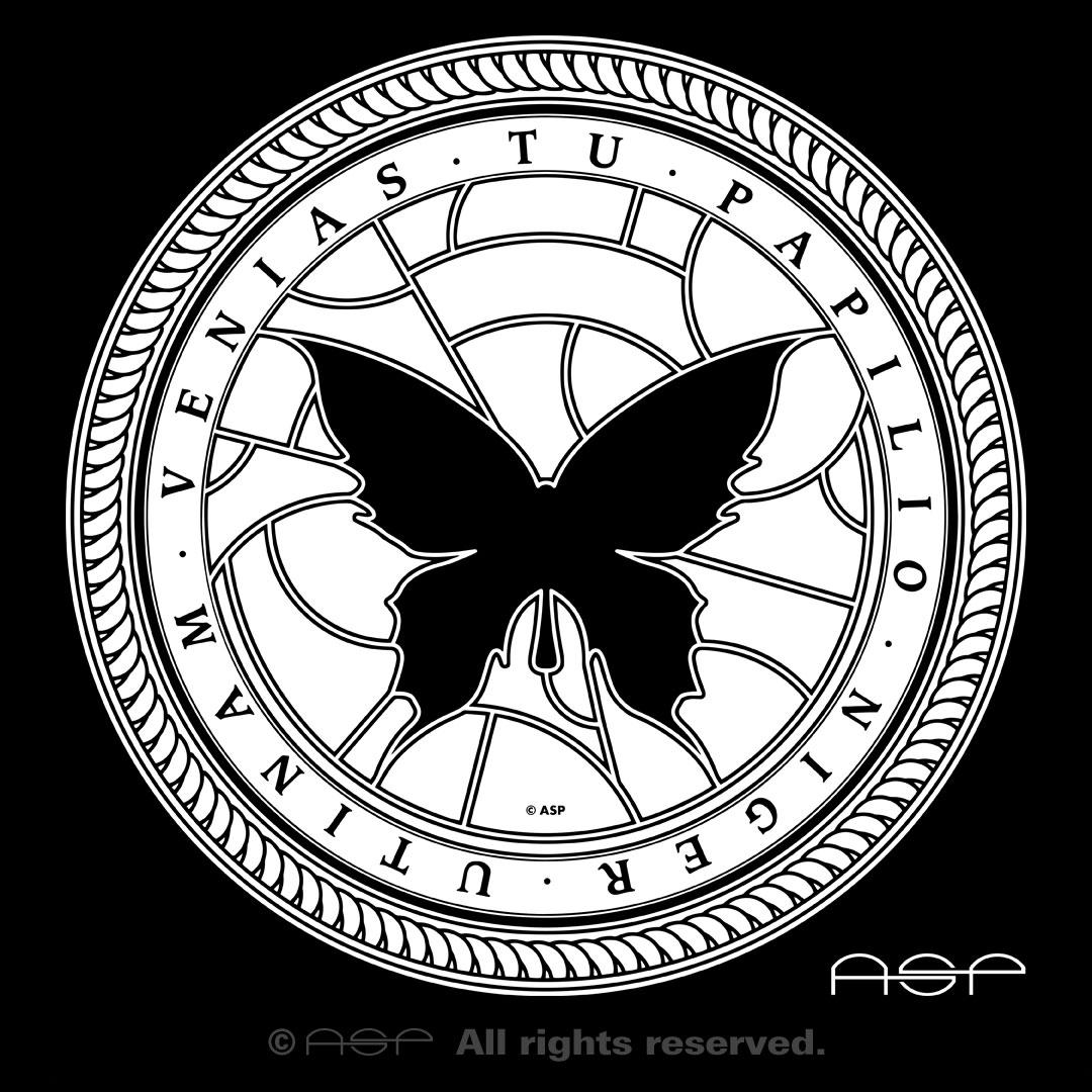 """ASP Schwarzer Schmetterling """"Utinam venias tu papilio niger"""" aus dem Song """"Beschwörung"""" vom Album """"Aus der Tiefe"""" © ASP"""