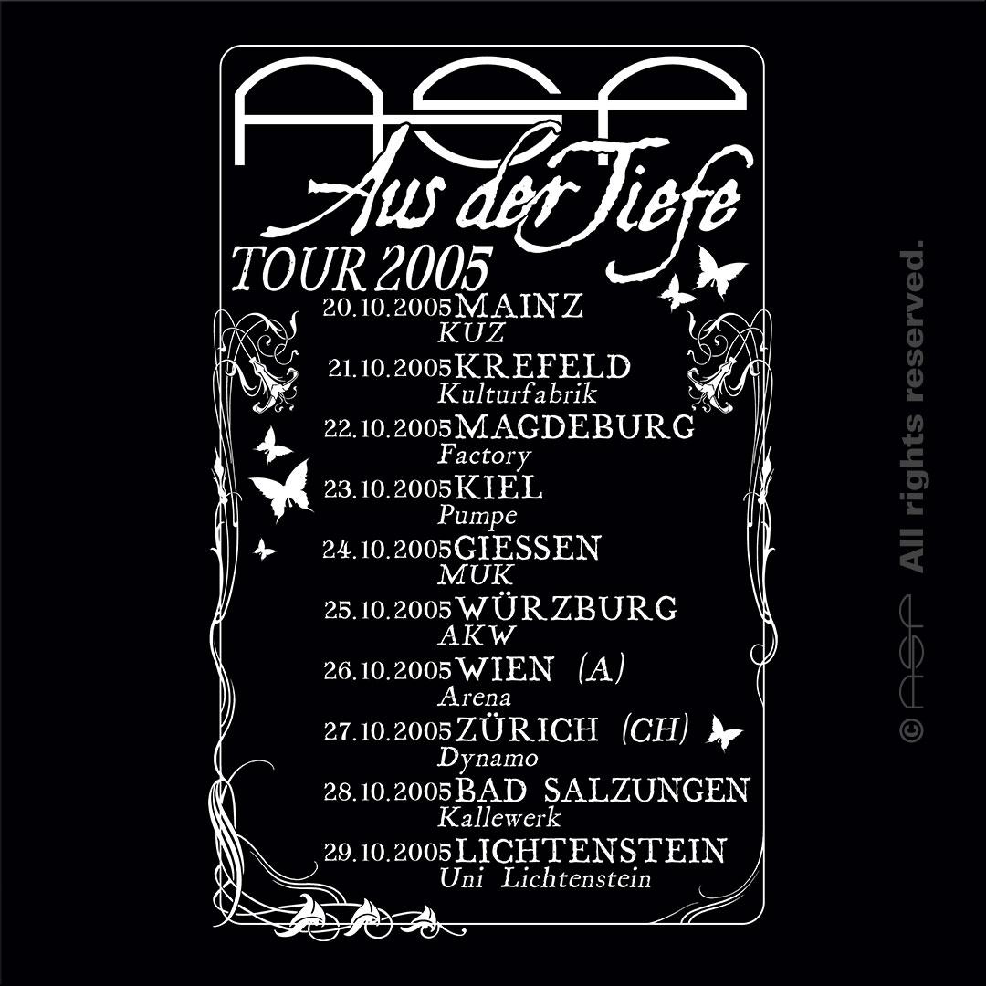 Tour-Shirt (Rückseite) Aus der Tiefe Tour 2005 © ASP